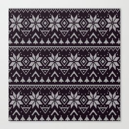 Knitted Christmas pattern in retro style 5 Canvas Print