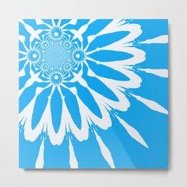 The Modern Flower Sky Blue Metal Print