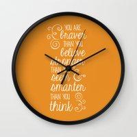 winnie the pooh Wall Clocks featuring Winnie the Pooh by Nikita Gill