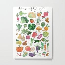 Autumn seasonal fruits and vegetables watercolor illustration Metal Print