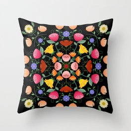 Folk Art Inspired Garden Of Fantastic Floral Delight Throw Pillow
