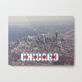 Chicago City Flag Architecture Downtown Color Text Font Type Photography Metal Print