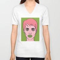 mod V-neck T-shirts featuring Mod by Grace Teaney Art