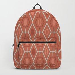 Retro Mid Century Modern Geometric in Red Orange and Gray Backpack
