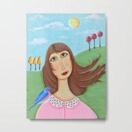 Girl with a Bluebird Metal Print