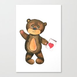 bear with postcard and heart Canvas Print