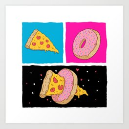 Pizza & Donut Art Print