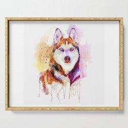 Husky Dog Watercolor Portrait Serving Tray