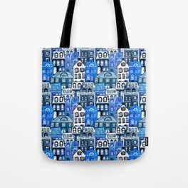 Mansard Village in Blue Watercolor Tote Bag