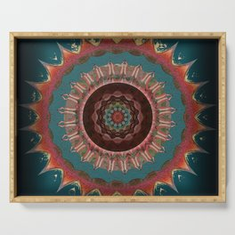 Midnight Sacred Garden Antique Embroidery Mandala Serving Tray