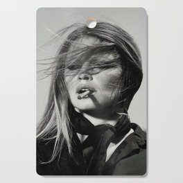 Brigitte Bardot Smoking a Cigarette, Black and White Photograph Cutting Board