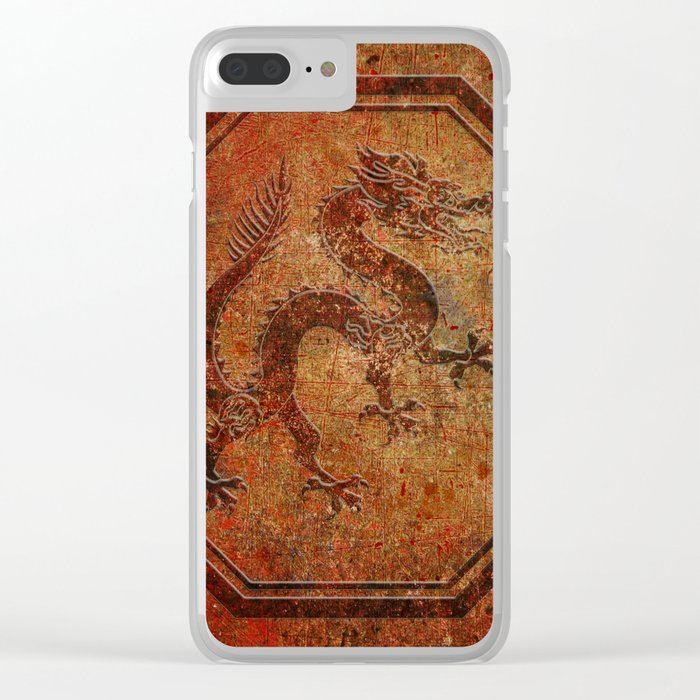 Distressed Chinese Dragon In Octagon Frame Clear iPhone Case
