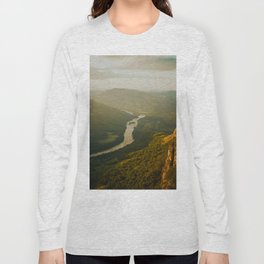 Birds Eyes View Of Mountain Valley River Beautiful Green Landscape IN The Jungle Long Sleeve T-shirt