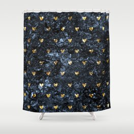Gold Glitter Hearts on Blue-Black Scratched Suede Shower Curtain