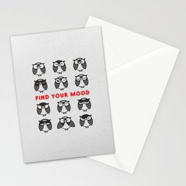 Owls. Find your mood. Stationery Cards