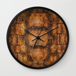Brown Patterned  Organic Textured Turtle Shell  Design Wall Clock