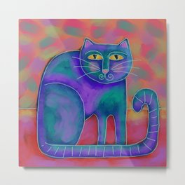 Funky Abstract Cat Digital Painting  Metal Print