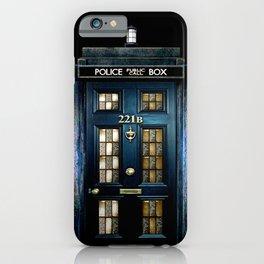Tardis doctor who Mashup with sherlock holmes 221b door iPhone Case