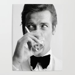 Roger Moore with Martini Retro Vintage Art Poster