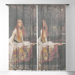 THE LADY OF SHALLOT - WATERHOUSE Sheer Curtain