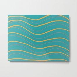 Waves blue yellow Metal Print