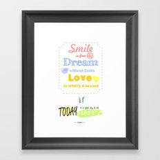 {ENG} SMILE · DREAM · LOVE Framed Art Print