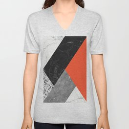 Black and White Marbles and Pantone Flame Color Unisex V-Neck