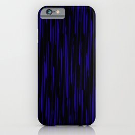 Vertical cross blue lines on a dark tree. iPhone Case