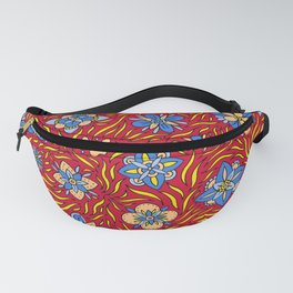 Summer Flowers Red Fanny Pack