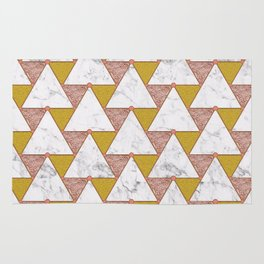 MARBLE ROSE AND GOLD TRIANGLES Rug