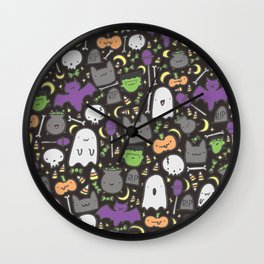 Kawaii Halloween - Black Wall Clock
