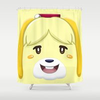 animal crossing Shower Curtains featuring Animal Crossing Isabelle by ZiggyPasta