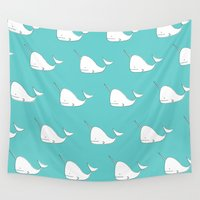 narwhal Wall Tapestries featuring Narwhal Party by Samantha Wright