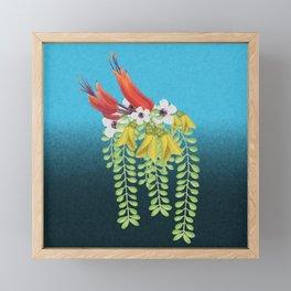 Flax, Kowhai and Manuka Flowers Framed Mini Art Print