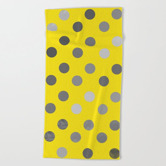 Polka Proton Yellow Beach Towel