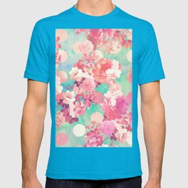 Romantic Pink Retro Floral Pattern Teal Polka Dots T-shirt