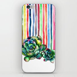Rainbow Succulents - pencil & watercolor illustration iPhone Skin