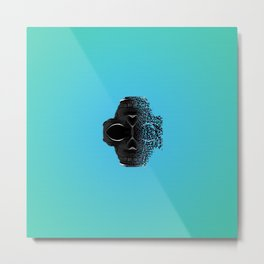 fractal black skull portrait with blue abstract background Metal Print
