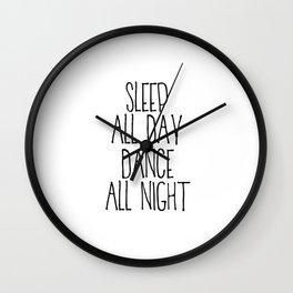 PRINTABLE ART,Funny Print,Black and White,Bedroom Decor,Couple Print,Dance All night/ Sleep All Day Wall Clock