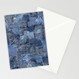 Blue Jeans Pocket Patchwork Pattern Stationery Cards