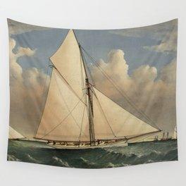 Vintage Boston Yacht - Puritan - Illustration (1885) Wall Tapestry