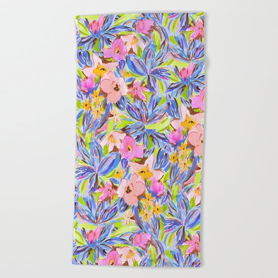 Flaunting Floral Periwinkle Beach Towel