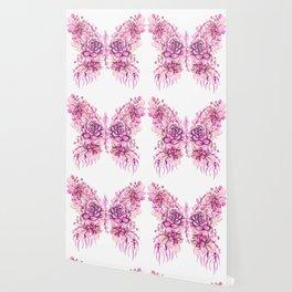 Flowery Pink Princess Butterfly Wallpaper