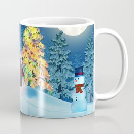Cabin, Christmas tree and snowman in winter landscape at night Coffee Mug