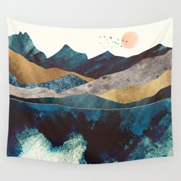 Blue Mountain Reflection Wall Tapestry