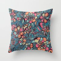 spring Throw Pillows featuring Sweet Spring Floral - melon pink, butterscotch & teal by micklyn