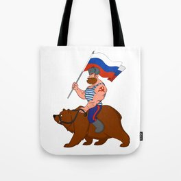 Russian riding a bear. Tote Bag