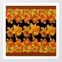 GOLDEN DAFFODILS GARDEN  COFFEE BROWN-BLACK ART Art Print