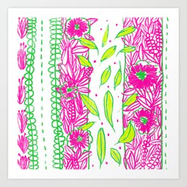 Funkly Floral Pink & Green Art Print