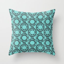 Scrolled Ringed Ikat - Aruba Blue Caviar Throw Pillow
